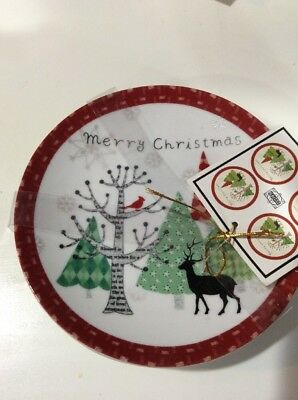 222fifth Merry Trees Christmas Winter New 4 Appetizer  Dessert Plates