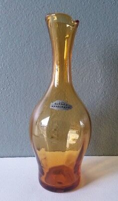 BLENKO - AMBER GLASS OPTIC VASE #64D w/ STICKER - JOEL MYERS