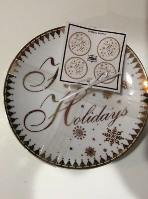 222fifth Festive Holidays Christmas New Years  New 4 Appetizer  Dessert Plates