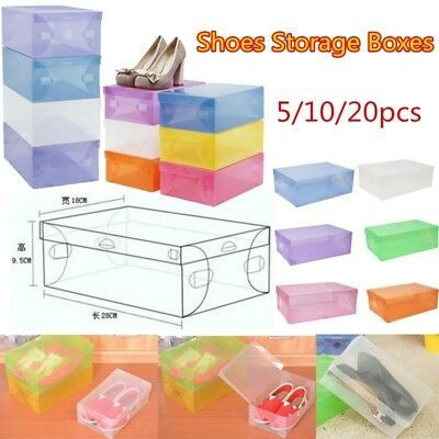 Foldable Clear Plastic Shoe Organizer Storage Box Stackable Shoe Holder Tidy BOX