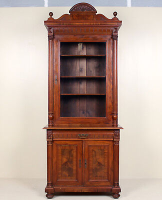 Antique Biedermeier Glazed Bookcase Carved Display Cabinet Glass Walnut