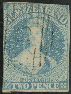 NEW ZEALAND STAMP 1857 SG #9 CHALON HEAD,2d PALE BLUE, NO WMK, LOVELY USED