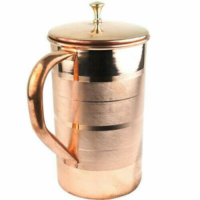 India Handmade Copper Jug 1.5Ltr Drinking Water Storag Pitcher Lid Yoga Ayurveda