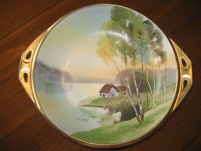 """Nippon Bowl Swans House Lake & Trees Scenic Gold Trim Green M in Wreath 7"""" Round"""