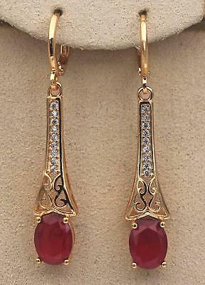 "18K Yellow Gold Filled 1.7"" Court Earrings Ruby Gems Topaz Hollow Dangle Chain"