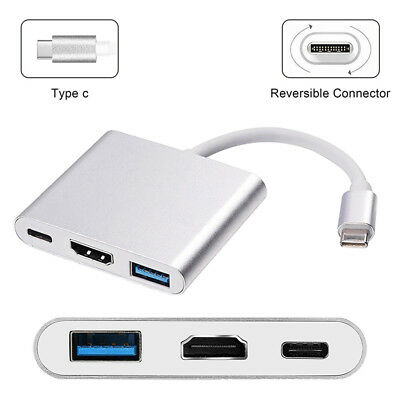 3 IN1 Aluminum USB 3.1 Type-C Port Hub HDMI Adapter Charger For MacBook Air Pro