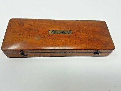 ANTIQUE 1800S GEMRIG MAHOGANY POCKET SURGICAL CASE MISSING MOST INSTruments