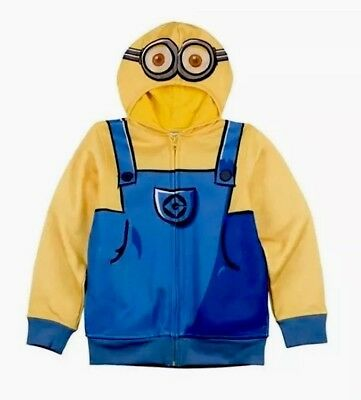 Puma Minions Kids Zip Up Hooded Youths Sweat Jacket Blue 592552 03 P5