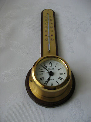 """Stockburger""Schiffsuhr,Wanduhr+Thermometer.Uhr.Messing,Holz,Top!"