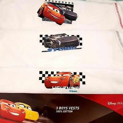 Pack Of 3 Boys Vests Cars 100% Cotton Christmas Gift Presents