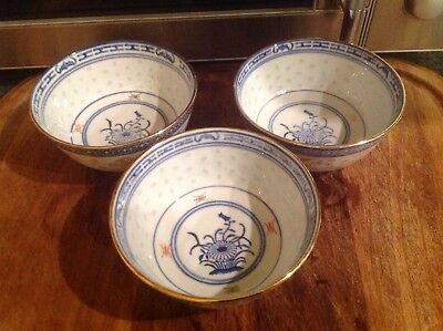 Vintage Chinese Gilt Rice Eye Bowls  x 3 Made in China