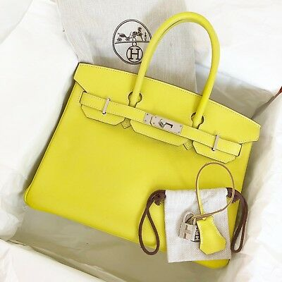 528208a59ab5 Authentic Hermes Birkin Bag Limited Edition Lime Gris Perle Candy Epsom 30cm