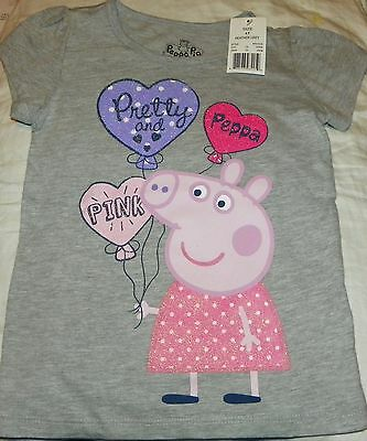 """NEW"" Peppa Pig ~ Pretty & Pink SHIRT ~ Toddler Girl's Sz 4T 4 Gray GLITTER NWT"