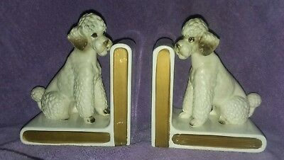 """Vintage White Poodle With Brown Eyes Bookends Ceramic 6"""" x 5"""""""