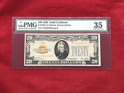 FR-2402 1928 Series $20 Twenty Dollar Gold Certificate *PMG 35 Choice Very Fine*