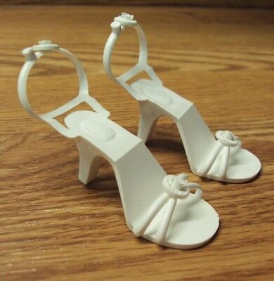 Vtg 1950's - 1960's WHITE High Heel Strappy DOLL SHOES