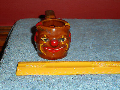Indian Face Tobacco Pipe Cigarette Ashtray Black Americana Pottery Figural