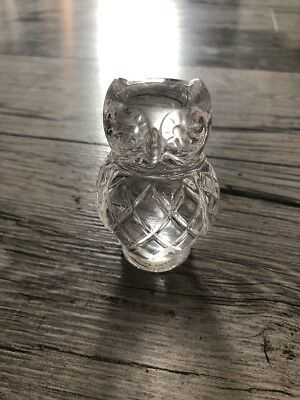 Franklin Mint 1988 Clear Glass Owl Figurine Collectible