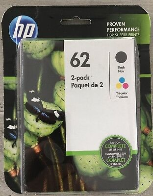 NEW hp 62 Combo 2-Pack Ink Cartridges Black and Color, Warranty 2020