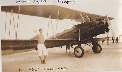 "Antique Real Photo of Biplane at Mattituck Suffolk Airport  ""My first duel boys"""