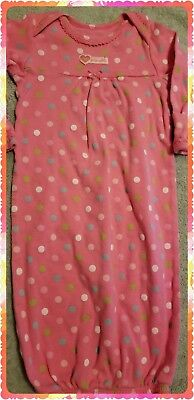 Carters, Bright Pink Polka dot Sleep Gown / Layette, Sz 0-3mos