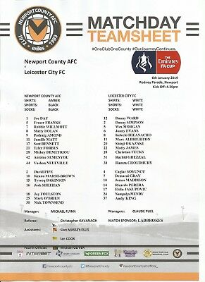 NEWPORT COUNTY v LEICESTER CITY    2018/19  FA CUP      Team Sheet