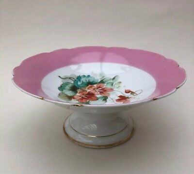 Ceramic Fruit Bowl Table Cente Piece Pink & White Floral Design
