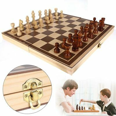 2019 Wooden Pieces Chess Set Folding Board Box Wood Hand Carved Gift Kids Toy UK