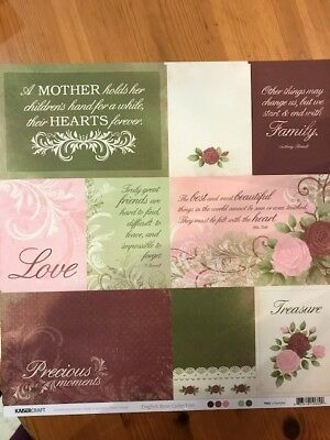 """Kaisercraft English Rose Collection 8 sheets 12""""x12"""" paper, Charlotte"""