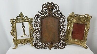 Collection Of 3 Antique Bronze And Brass Picture Frames