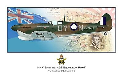WWII WW2 RAAF MkV Spitfire Aviation Art Profile Photo Print - #1 of 3