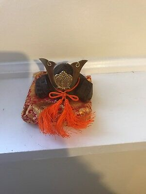Vintage Japanese Warrior Samurai Helmet Miniature Replica Cast Iron 3.5""