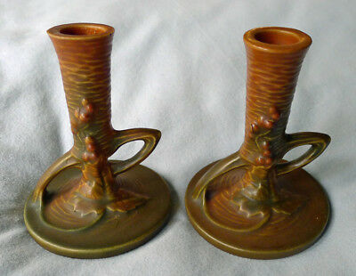 """1941 Mid-Century Roseville Bushberry Russet & Green Candle Holders Pair 4 1/2"""""""