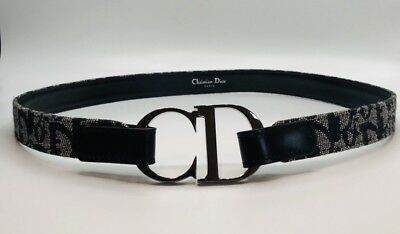 e83c540bf711 Authentic Christian Dior Trotter Pattern Belt Navy Blue Canvas Leather 75 30