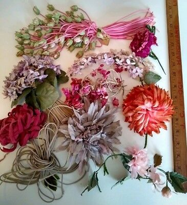LOT of 9 Vintage Millinery Bouquets of Flowers Stunning Pink Rose Buds Hats