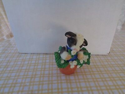 Mary's Moo Moos i pick moo #207136 Cow in flower pot Figurine 1996