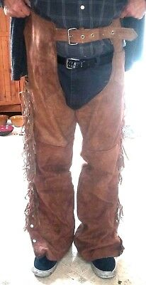 VTG Eagle Leather Wear Fringed Suede Leather Motorcycle Chaps L - XXL Adjustable