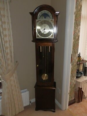 "Grandmother clock, 70"" tall, moon phase, 3 weights, Fenclock Suffolk"