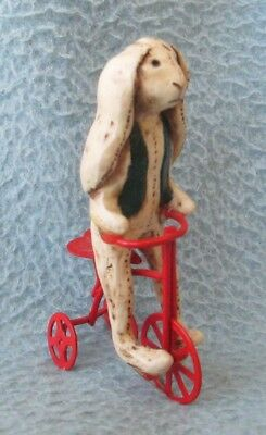 "HARE RIDING TRICYCLE 3.25"" FIGURE, Retro Antique Look, Easter"