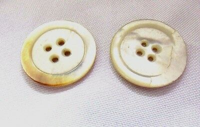 """Antique 2pc Vintage Mother of Pearl 4- Hole Rimmed Buttons 1"""""""