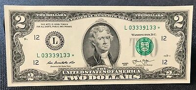 2013 ✯STAR NOTE✯ $2 Two Dollar Bill Serial Number L 0-333-91-33* San Francisco
