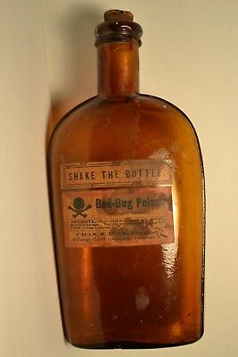 Vintage Pre 1900 Bottle Of Bed Bug Poison From Chas. Ives Druggist Syr Ny