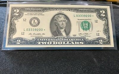 2013 ✯STAR NOTE✯ $2 Two Dollar Bill Serial Number L 0-333-9-200* San Francisco