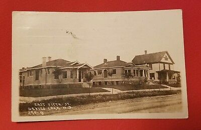 c. 1910 RPPC East 5th Street Houses Devils Lake North Dakota ND Postcard