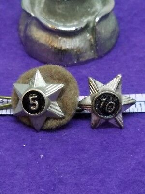 Lot Of 2 Vintage 1960's Uk Boy Scout 5 Year And 10 Year Service Star Pin