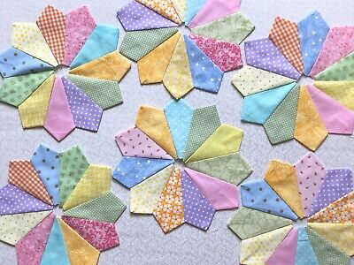 DRESDEN PLATE Quilt Blocks, Colorful, No Raw Edges, 100% Cotton, Set Of 12.