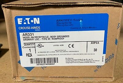 Crouse Hinds AR331 30 amp receptacle body grounded ARKTITE NEW Eaton