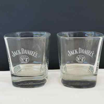 Jack Daniels Whisky Glass Tumbler Signature Lot of 2 Square Bottom