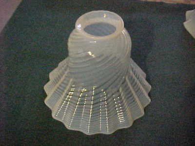 "Antique Victorian Pleated Opalescent Swirl Glass Electric Shade 2-1/4"" Fitter"