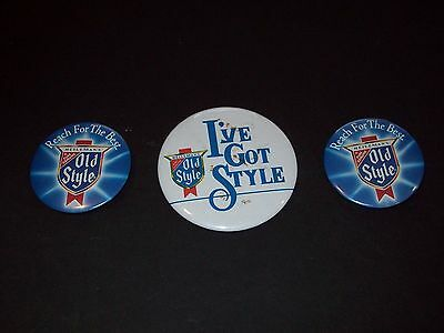 Lot of 3 Old Style Beer Pins Buttons
